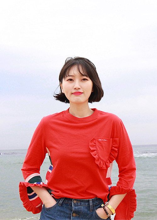 ADULT-LOVELY FRILL T-SHIRTS RED