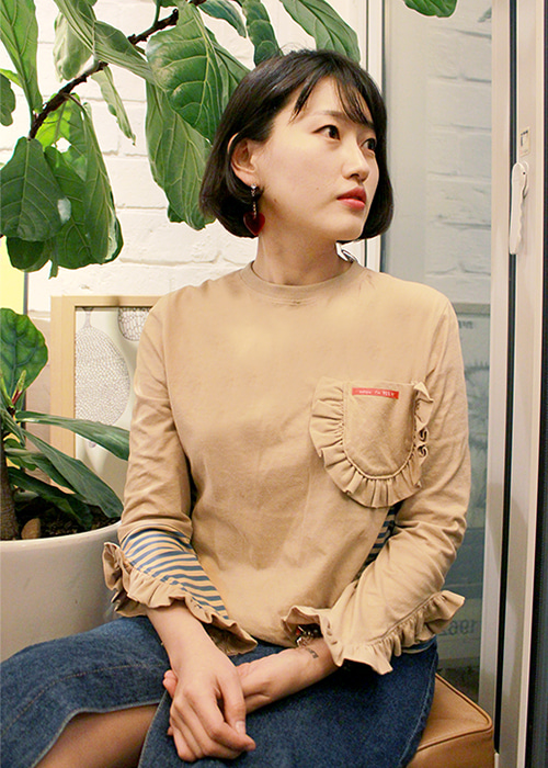 ADULT-LOVELY FRILL T-SHIRTS BEIGE